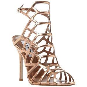 Steve Madden rose gold Slithur caged sandal heels